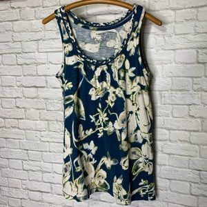 Sonoma Top Pretty Tank Teal Ivory Floral Size M